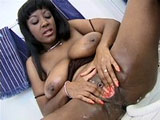 This sexy black girl is doing a little bit landscaping on her nice box. As she shaves her sweet pussy, she plays with herself.