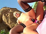 Hot blonde Brittney Skye and her cute blonde girlfriend are getting hot and steamy with each other by the poolside.  It's the hottest thing in the world to watch these two finger fuck and tongue bang each other's boxes.