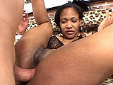 A smoking hot black girl is getting her nice ass fucked by a big white cock.  She and the guy take turns orally satisfying each other before she gets fucked.