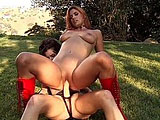 Sexy Autumn Haze finds her hot redhead friend, Alex Foxe, between her legs. Once Alex is done eating pussy,  she takes Autumn with a big rubber cock in the pussy until she's a quivering mess.