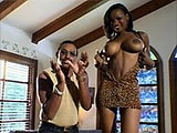 Big titty black hottie, Caramel, has all of her holes satisfied by these two guys.  She lets the two big dick dudes take turns fucking all three of her holes before getting the double stuff.