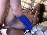 Nika, a big black sexy cheerleader, is getting a cock nice and wet.  Once it's thoroughly lube up, she saddles up and takes a hard fucking from it.