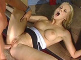 Hannah Harper, a hot blonde ass, is getting drilled in the back of an SUV.  Before taking a thoroughly hard fucking to her pussy and ass, she gives the guys cock a long and sloppy knobjob.