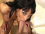Dee, a sexy African American, is having her hot black pussy fucked by a big dick. Before getting the dude's big hard cock stuffed up her cunt hole, she gives his cock a good once over with her mouth.