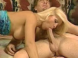 Dolly Golden, a fucking hot blonde, has her fine mouth wrapped around a big beefy dong. After sucking the guys cock, she gets fucked in a number of positions. She gets her sexy ass showered in warm man batter at the end.