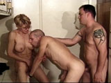 A sexy short haired blonde isn't the only one taking a cock up her ass in this bi sexual threesome. The girl and both guys take turns orally satisfying one another before everyone gets a thorough fucking.