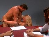 Slutty blonde Chandler is satisfying a big hard cock with her sloppy mouth skills.  She then pulls the guy's dick out of her mouth and takes a thorough fucking to her ass.  After getting her pooper reamed out, she gets her face showered in jizz.