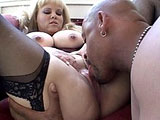 Shonna, a big titty blonde, is sucking on two giant black cocks. After blowing both of guys, she gets fucked by the guys individually before getting DPed.
