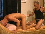 Two hot blonde males are having a hot and steamy make out session.  After their tongue fucking, they take turns sucking and fucking one another with some dildos before stroking each other off.