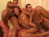 This sexy shemale is having a good time with these two very eager guys.  She gets her hot little ass just fucked to all hell and back.  For her a grand finale, she receives a huge facial.