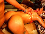 A hot black girl is getting a big cock stuffed up her hot black ass. She starts by giving guy's cock and balls some sloppy mouth service before getting fucked in many different positions. After having her ass beat up, she strokes the dude's cock off all over her face.