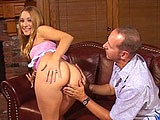 Kayla Marie, a sexy young redhead, is getting her hot teen pussy fucked by a much older cock.  She starts out by thoroughly slobbing on the guy's big dick before letting him stick it in her young cunt.