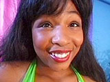 Desire, a full figured black girl, has her beautiful mouth around a large white cock.  After her spectacular sloppy mouth service, she gets fucked in a number of different positions before drinking down a big load of cum.