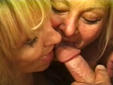 Two old blonde whores are showing this guy what a real threeway is like.  Yes they are old, but they can tag team cock just as good as girls half there age.  