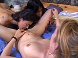 This hot lesbian threeway has a sexy blonde, a cute Asian girl, and a hot black girl all getting buck wild with one another.  They all take turns eating snatch and fucking each other with fingers, tongues, and a rather substantial assortment of sex toys.