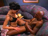 Nikita Denise, a hot little brunette, is taking a big black cock up her poop shoot.  She starts with some hot foreplay action before swallowing down a big black cock.  After gagging herself on the big black monster, she hops up on it and gets her pussy reamed out. 