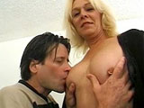 A mature blonde becomes this guy's own personal porno.  She is pretty average looking with alot of miles on hers tires, but she knows what to do to get him off.